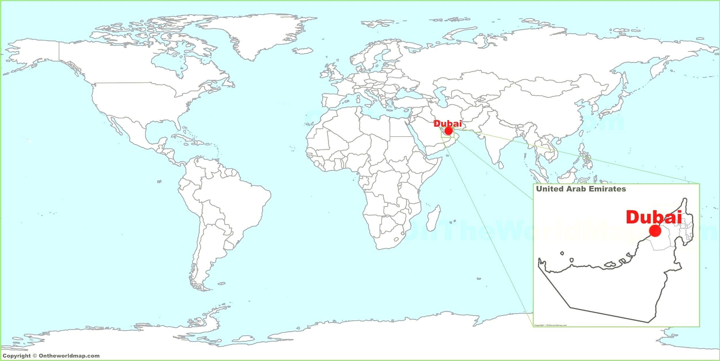 Dubaj V Mape Sveta Dubaj Mapu Vo Svete Spojene Arabske Emiraty